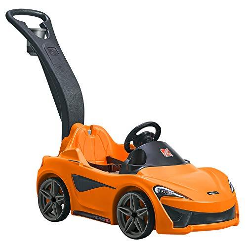 Step2 Mclaren 570s Push Sports Car Kinderauto / Rutscher in Orange | Spielzeug Auto mit Schiebestange | Kinderfahrzeug / Rutscherauto ab 1.5 Jahre