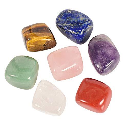 Siete piedras de chakras de cristal para yoga, piedras energéticas adecuadas para regalos de meditación