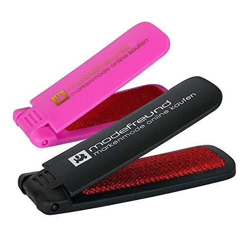 Fusselfreund Doppelpack 2-in-1 Fusselbürste + Schuhlöffel kompakte, kleine & leichte Textilbürste aus Kunststoff - schwarz & pink