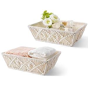 Mkono Macrame Storage Baskets Boho Basket with Cotton Liner Countertop Handmade Woven Home Decor Bins Storage Boxes for Bedroom Living Room Dorm Organization, Set of 2