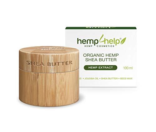 SHEA BUTTER HEIL-SALBE 100% BIO für trockene, entzündete, rissige Haut, Schuppenflechte und Narben mit feuchtigkeitsspendender Hānf Ol-Olivenöl-Bienenwachs-Arganöl-JojobaIöl-100ml KÖRPER-CREME