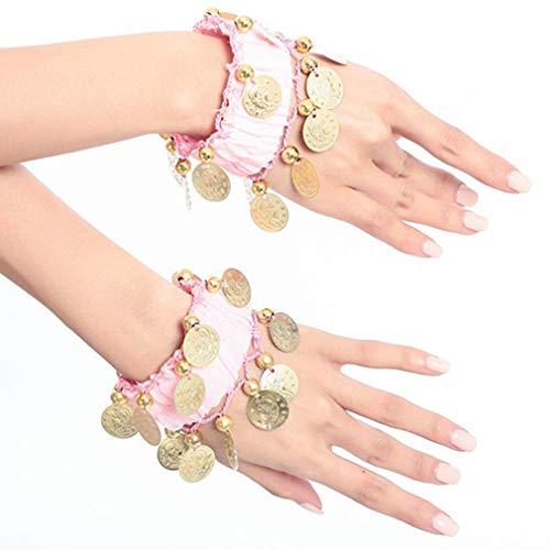 TheBigThumb 1 Paar Bauchtanz Arm Manschette Handgelenk Armbänder, Bauchtanz Manschetten Armband mit 16 Goldenen Münzen Frauen Kostüm Zubehör für Tänzer, Pink