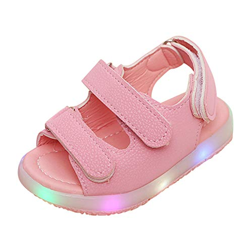 Moonker Kids Shoes,Toddler Baby Boys Girls Sport Summer Light-Up Sandals LED Luminous Flat Shoes Sneakers 1-6 Years Old (1.5-2 Years Old, Pink)