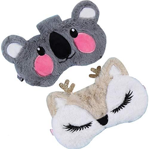 2 Pack Cute Animal Sleep Mask for Girls Soft Plush Cute Fox Koala Blindfold Sleep Masks Eye Cover for Women Girls Travel Nap Night Sleeping