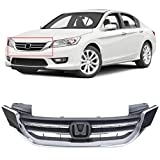 ECOTRIC New Front Bumper Hood Grille Grill Replacement for 2013-2015 Honda Accord 4d Replaces for 71121T2FA01, HO1200214 (4 Door Sedans ONLY)