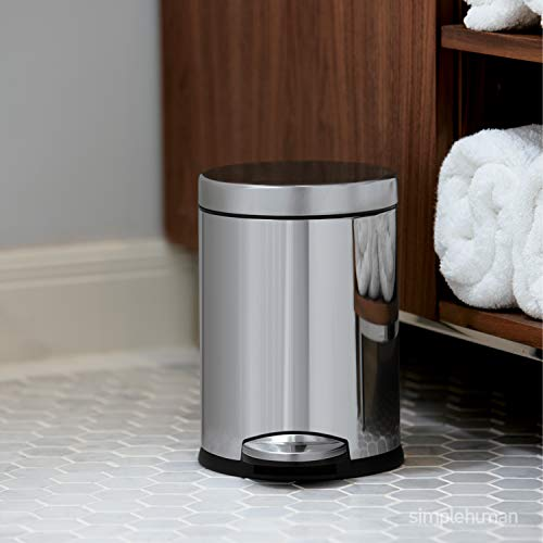 simplehuman 4.5 Liter / 1.2 Gallon Compact Stainless Steel Round Bathroom Trash Can, Brushed Stainless Steel