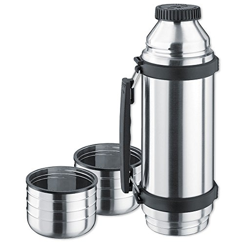Isosteel VA-9562DQ 1.0 L Duo Vacuum-Insulated Flask with Quickstop Single-Hand Pouring System and 2 Screw-Off Drinking Cups, 18/8 Stainless Steel