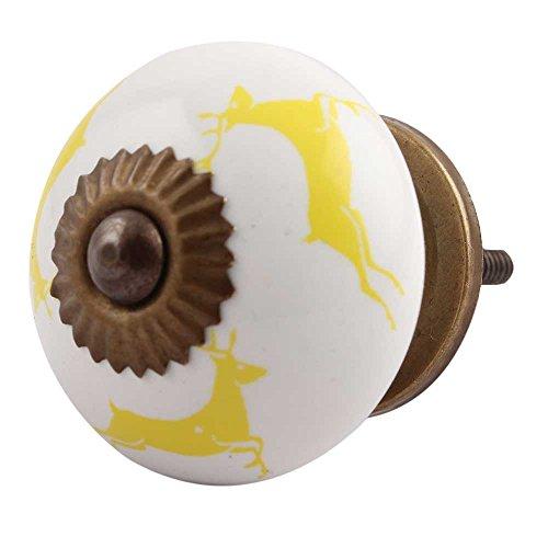 10 piezas de cerámica artesanal Indianshelf amarillo ejecutando Rein Deer patrón Cajonera pomos puertas armario APARADOR Aparador tira de nuevo en línea