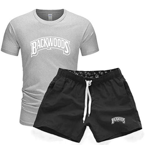 GIRLXV Camiseta De Manga Corta De Verano para Hombre Camiseta Informal De 2 Piezas Backwoods Traje Deportivo Pantalones Cortos Traje De Hombre Estampado XL