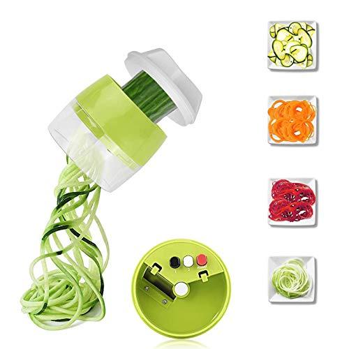 LEEWENYAN Cortador de Verdura 4 en 1 Rallador de Verduras Calabacin Pasta 4 Modos Espiralizador Vegetal Veggetti Slicer Pepino Espaguetis de Calabacin Manual