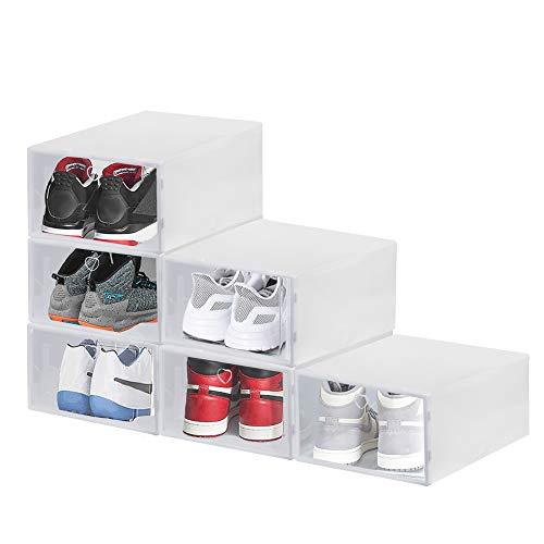 BUZIFU 6pcs Cajas Zapatos Transparentes Cajas Plástico Zapatos Apilables Hasta Talla 49 Caja de Almacenamiento de Deportivas para Mujer y Hombre Organizar Zapatos Armario(6 unidades, 33 x 23 x 14 cm)
