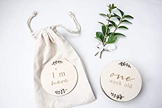 Baby Milestone Cards |Pregnancy & Baby Anouncement | Newborn Keepsakes| Wooden Smooth Engraved Discs | Baby Photography Pr...