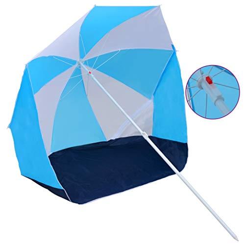 pedkit Strandschirm 180 cm Blau und Weiß Stoff Strandmuschel Sonnenschirm Sonnenschutz Windschutz Schirm Gartenschirm 150 x 115/191 cm (D x H)