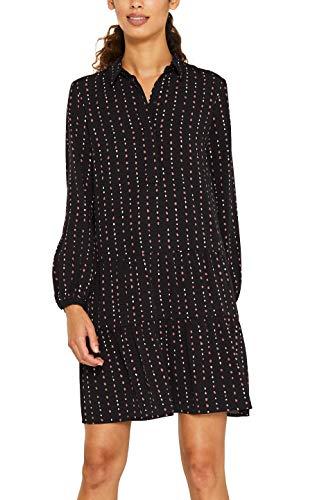 ESPRIT Damen 119EE1E038 Kleid, Schwarz (Black 2 002), (Herstellergröße: 38)