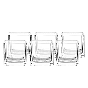 Whole Housewares Square Glass Vase Centerpiece Set  6,4 Inch  6 Pack Candle Holder Clear Cube