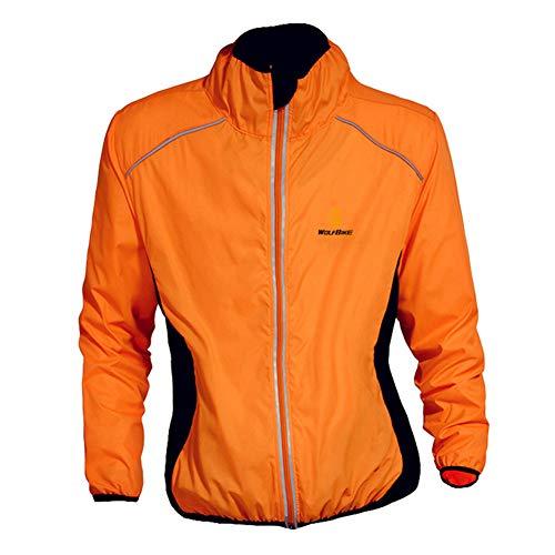 Bili Fahrradjacke Herren radjacke Winddicht Windbreaker männer Windjacke Damen wasserdichte Sportbekleidung für Radfahren Laufen Wandern Bergsteigen(Orange,2XL)