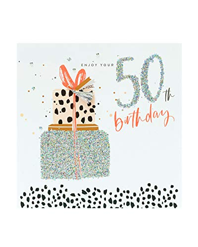 UK Greetings Age 50 Foiled Finish 50th Verjaardagskaart - Aanwezig