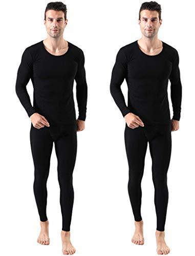 Japarismo Thermal Underwear for Men Ultra Soft Long Johns Top & Bottom Sets Base Layer Cotton Long Sleeve Shirt Pants (Noble Black (2 Sets), US Large (Asia 4L))