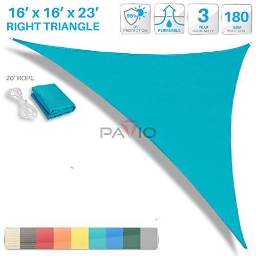 PATIO Paradise 16' x 16' x 22.6' Turquoise Green Sun Shade Sail Right Triangle Canopy, Permeable UV Block Fabric Durable Outdoor, Customized Available