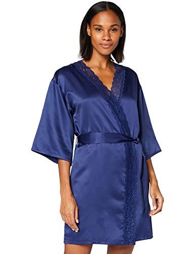 Amazon-Marke: Iris & Lilly Damen Morgenmantel, Blau (Twilight Blue), S, Label: S