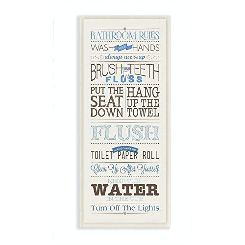 Stupell Home Décor Bathroom Rules Blue And Black Print Bathroom Wall Plaque, 7 x 0.5 x 17, Proudly Made in USA