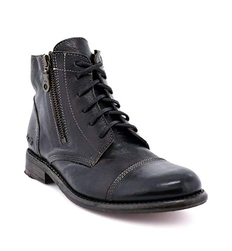 Bed|Stu Bonnie Women's Distressed Leather Lace Up Boot - Short Combat Ankle Bootie - Black Rustic - 9