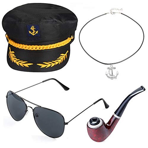 Beelittle Yacht Capitán Sombrero Accesorios de Disfraces Conjunto Barco Ajustable Marinero Nave Skipper Gorra Aviador Gafas de Sol Pipa de Tabaco con Accesorios de diseño de Ancla (J)