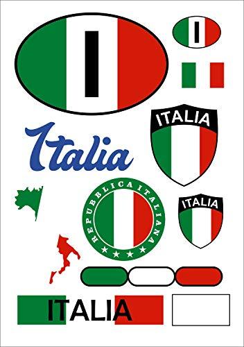 aprom Italien Aufkleber Karte Stickerbogen - PKW Auto Fahne
