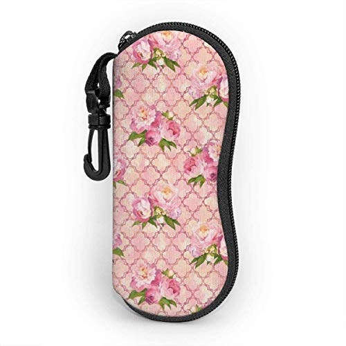 Funda de Gafas,Estuche para las Gafas, Flower Kawaii Corgi Ultra Light Portable Neoprene Zipper Glasses Soft Case, Eyeglass Safety Pouch Zipper Box Case with Belt Clip