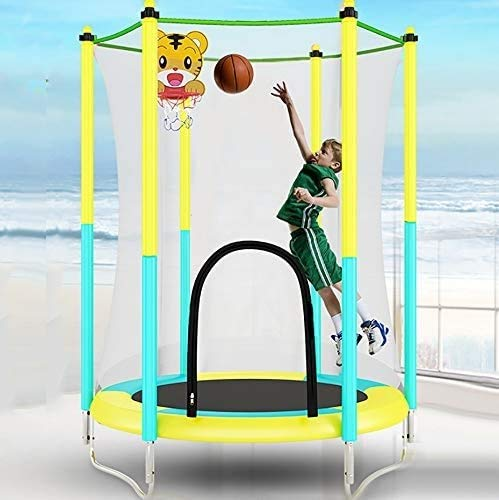 XSLY 1.5M Children's Indoor Trampoline Exercise - Bearing 100Kg, with Basketball Stand