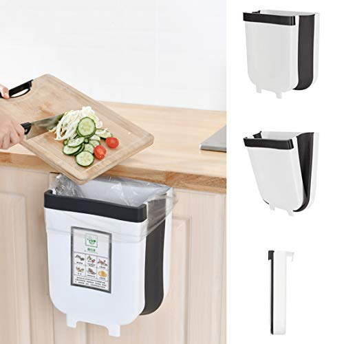 Goodbox Faltbarer Mülleimer Küche, Abfalleimer Küche Faltbare Abfalleimer, 9L /5L Aufhängbaren Abfallbehälter Für Schranktür Küche - Neue Generation (9L, Weiß)