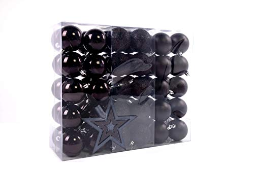 Lifestyle & More Weihnachtskugeln Christbaumkugeln Set 61 teilig mit nur Großen Kugeln Ø 6 cm Schwarz inklusive Sternspitze und passenden Anhängern
