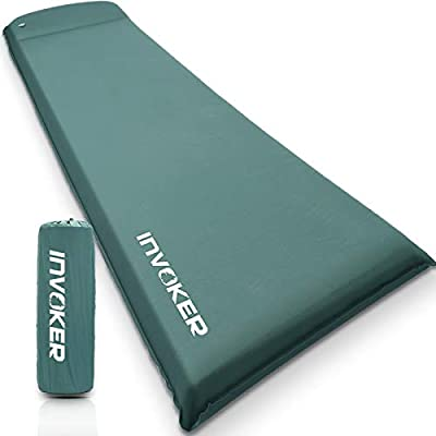 INVOKER Camping Sleeping pad – 3 inch Thickness Flex Foam Self-Inflating Camping Mat with Pillow Inflating in 25s for Backpacking Traveling and Hiking Air Mattress – Camp Sleep Pad (Malachite Green)