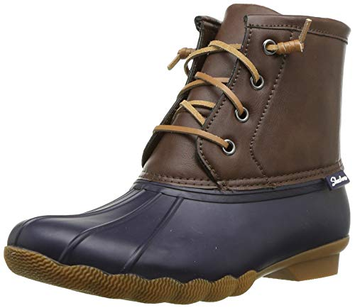 Skechers Women's Pond-Lace Up Mid Duck Boot with Waterproof Outsole Rain, Navy/Brown, 7 M US