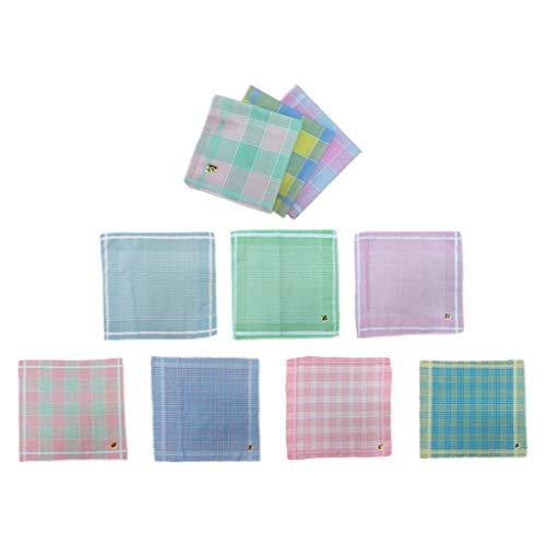 Bonarty 10 Stück Modische Taschentücher Karomuster Stofftaschentücher Geschenke für Großmütter, Mütter