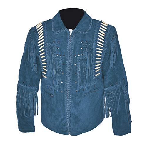 HLS Western Cowboy - Chaqueta de Piel con Flecos para Hombre, Talla XXS-5XL, Color Azul Azul Azul X-Small