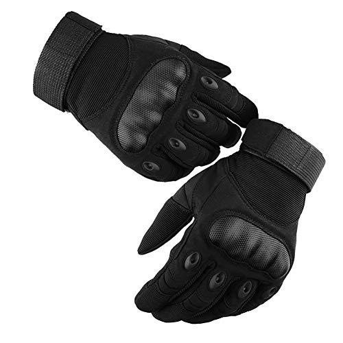 GES Guantes de moto, Hombres Guantes de motocicleta de dedo completo Pantalla táctil ATV Montar Motocross Racing Guantes (Negro, M)