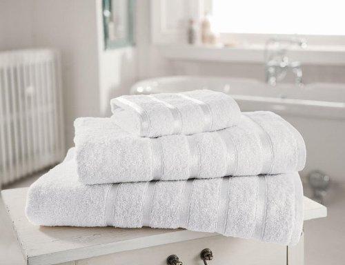 Serviette en coton égyptien de 600 g/m ² Satiné Extra doux rayé Kensington Lot de 4 serviettes à main Blanc