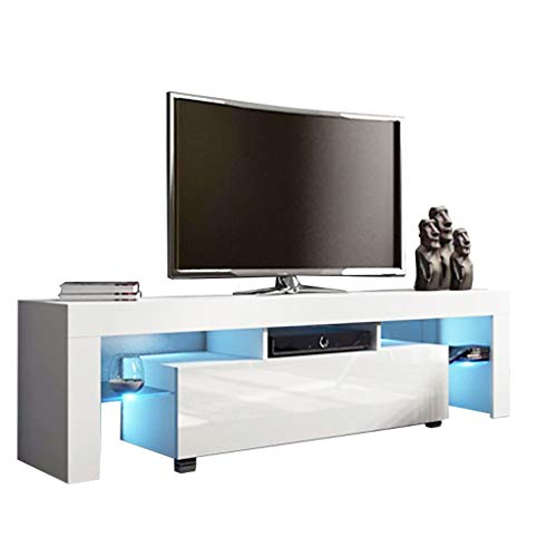 Fthome US Fast Shipment Modern TV Stand with LED Lights, High Gloss TV Stand Media Storage Console Cabinet Drawer and Shelves Entertainment Center Living Room Furniture (White)