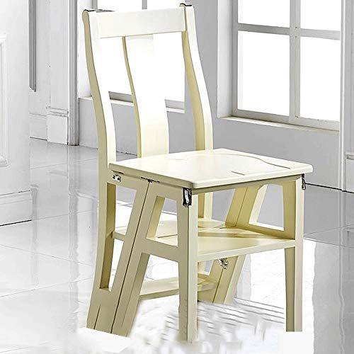 WCS Multi-Space Ladder Chair Trittleiter Folding Haushaltsleiter mit doppeltem Verwendungszweck Multifunktionaler verformbarer Holz-Leiterstuhl Weiß 40 × 41 × 85 cm