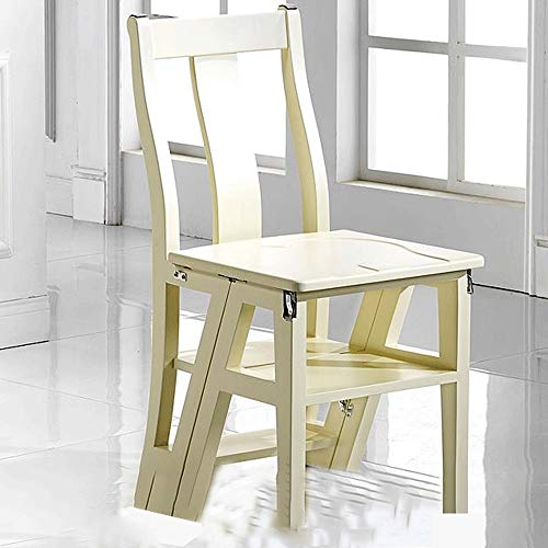 WCS Multi-Space Ladder Chair Trittleiter Folding Haushaltsleiter mit doppeltem Verwendungszweck Multifunktionaler verformbarer Holz-Leiterstuhl Weiß 40 × 41 × 85 cm
