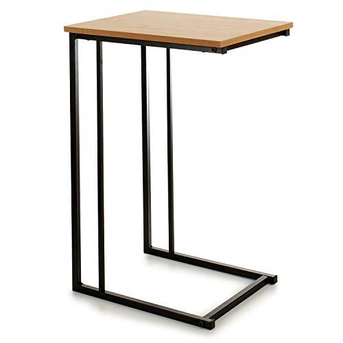 Table d'appoint multifonction TENDENCIA ÚNICA, en MDF couleur naturelle et pieds métalliques. Son design permet de glisser la base sous un canapé.