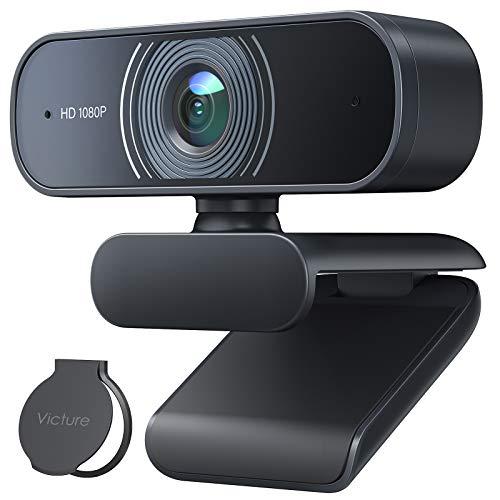 Victure Webcam per PC con Microfono, 1080P Full HD Videocamera per PC, Desktop, Laptop, TV USB, Plug and Play per Lezioni, Lavoro Online, Conferenze, Registrazioni, Compatibile con Skype, Zoom