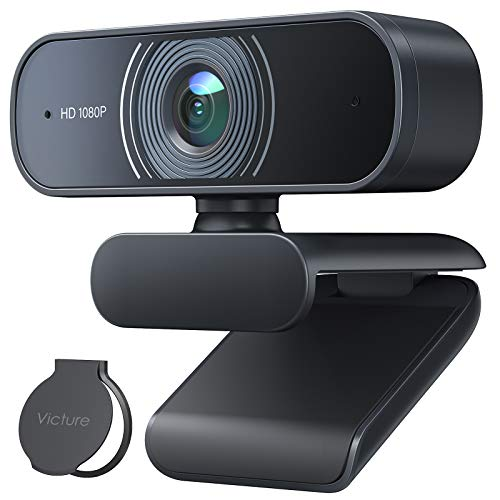 Victure Webcam per PC con Microfono, 1080P Full HD Videocamera per PC, Desktop, Laptop, TV USB, Plug and Play per Lezioni, Lavoro Online, Conferenze, Registrazioni, Compatibile con Skype, Zoom