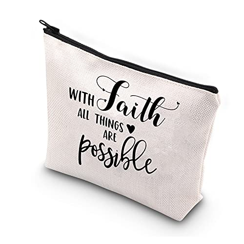 ZJXHPO Faith Gift With Faith All Things Are Possible Makeup Bag Christian Gift Religious Gifts for womens (WITH FAITH)