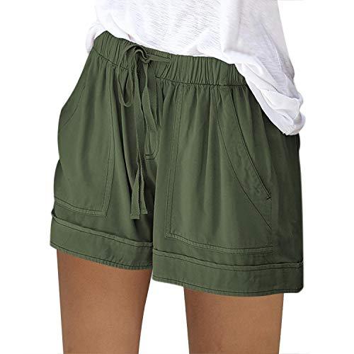 Pantalones cortos para mujer de verano sueltos de cuerda atada deportiva casual cintura elástica algodón lino bolsillo rosa deporte playa