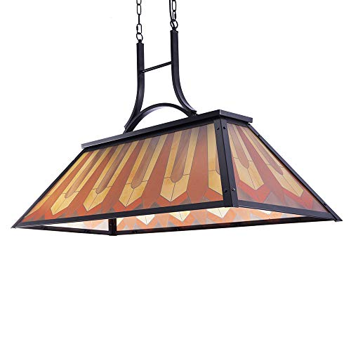 Wellmet Vintage 3-Light Pool Table Light Pendant with Tiffany-Style Printed Shade for Game Room 7 ft/8 ft/9 Feet Snooker Billiards Light Man Cave Club Kitchen Island Bar Game Dinning Room (Orange)