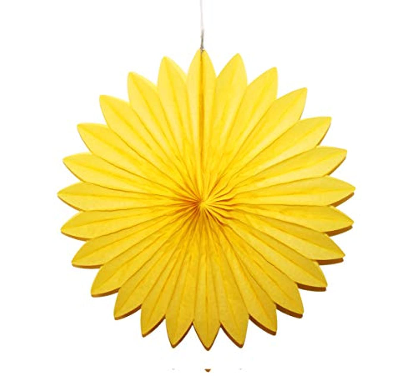 LG-Free 5pcs Party Paper Fan Hanging Paper Fans Decoration Tissue Paper Fans Honeycomb Wall Backdrop Paper Pom Poms Ceiling Wedding Birthday Party Baby Shower (Style1-16'', Yellow)