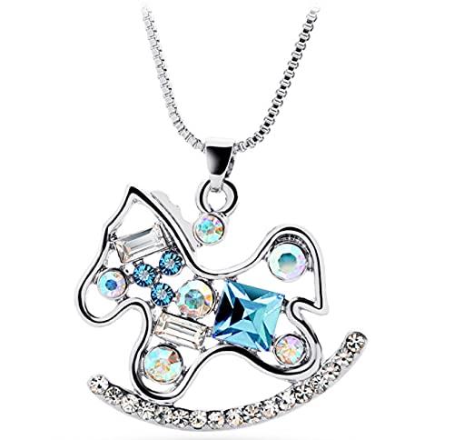 Collar De Cristal Superior Caballo Mecedora Animal De Dibujos Animados Colgante Joyería De Moda Regalo Femenino Joyería De Pareja Joyería Moda Enviar Decoración De Abanico
