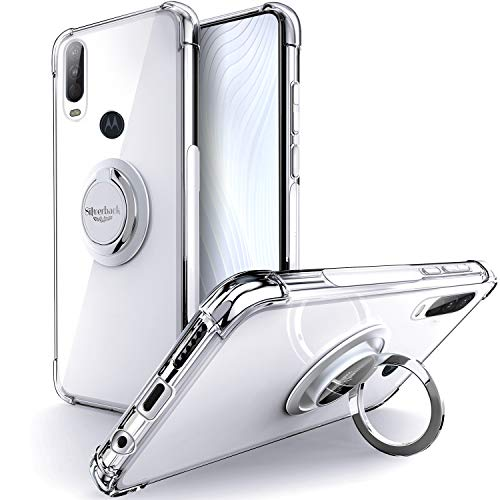 Silverback Moto One Action Case,Moto P40 Power Case Clear with Ring Kickstand, Protective Soft TPU Shock-Absorbing Bumper Shockproof Phone Case for Motorola Moto One Action -Clear Nevada